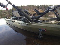 Magnet transducer holder on kayak