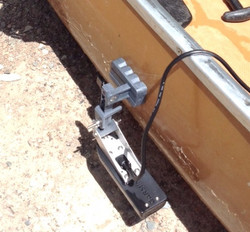 Magnetic Transducer Mount for Canoe