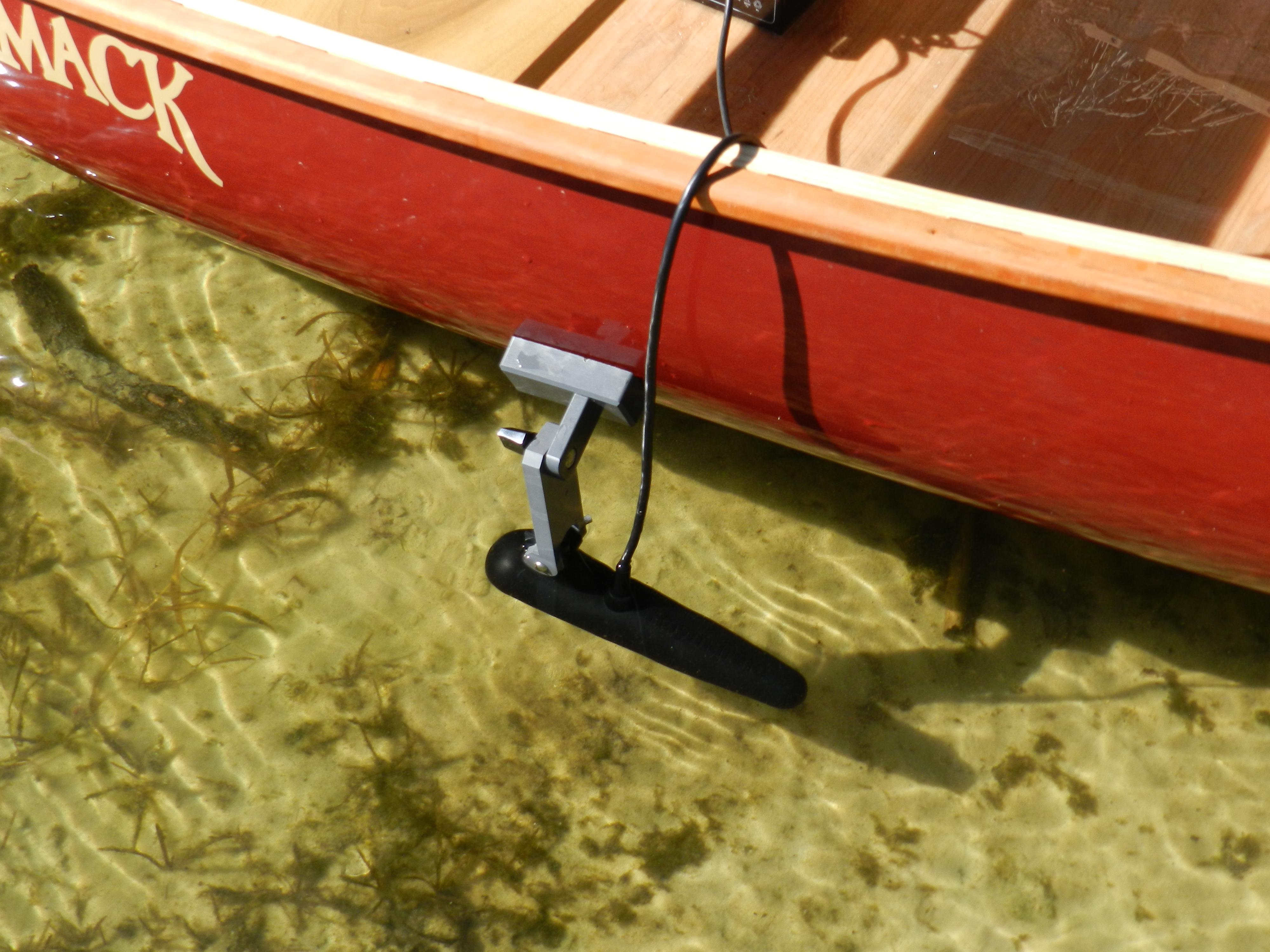 Raymarine 6 transducer on canoe