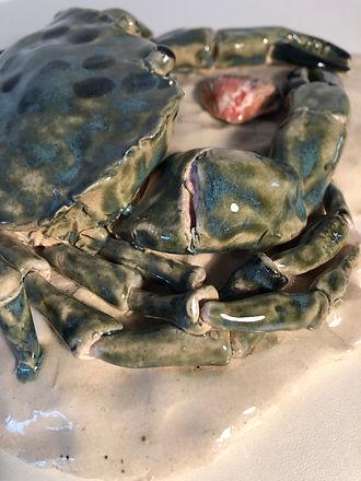 Green ceramic Crab