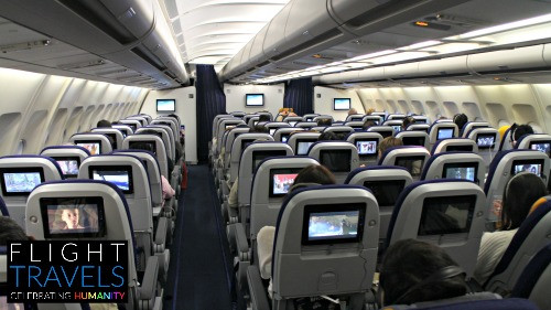 Cabin of Lufthansa widebody A340-300 jet, enroute from Kuala Lumpur to Jakarta
