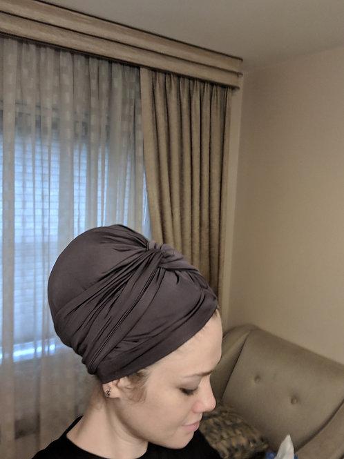 Dark Grey Turban hat with Turban Headband
