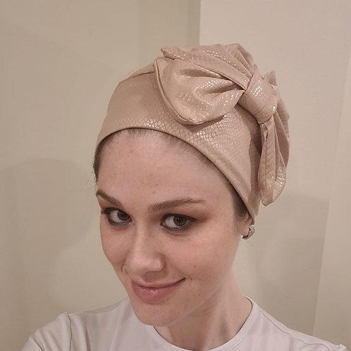 Beige Pleather Slip-on Hat