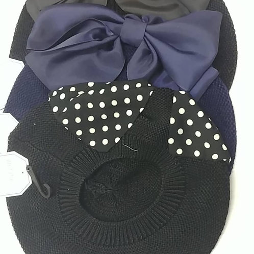Cotton Beret with Side Bow