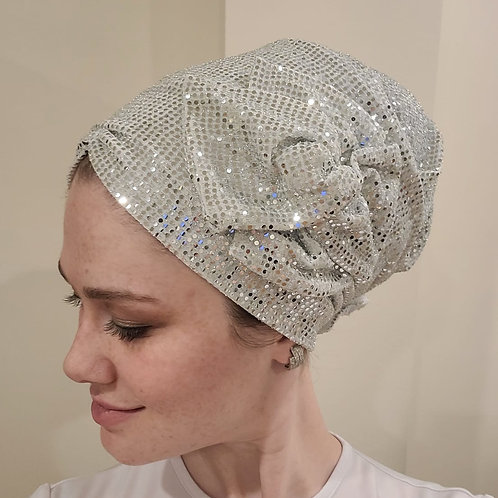 White Shimmery Pretied Hat