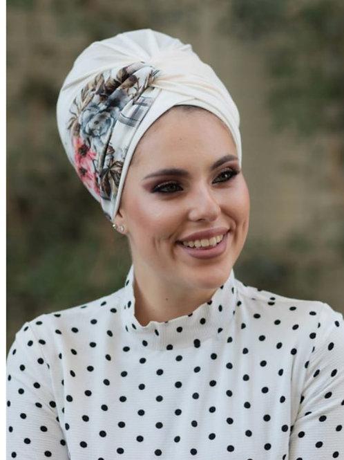 White Lycra hat with turban Headband