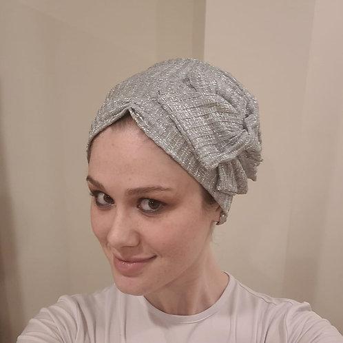 Light Grey Shimmery Pretied Hat