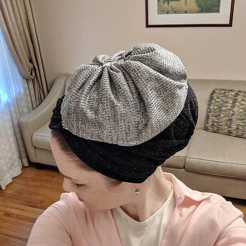 Black Yeela hat with silver flower