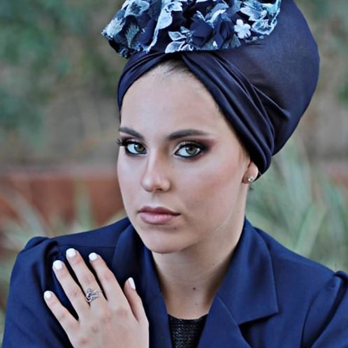 Yeela pretied Navy blue hat with flower