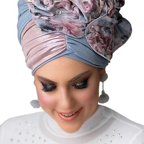 Yeela Light Blue  Hat with Colorful Headband