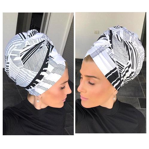 Black/white long cotton scarf