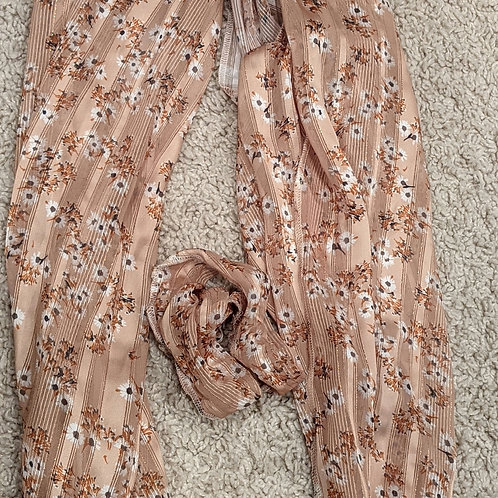 Beige Pretied Scarf with Side Ruffles