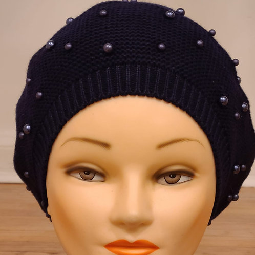 Cotton Beret with Pearls