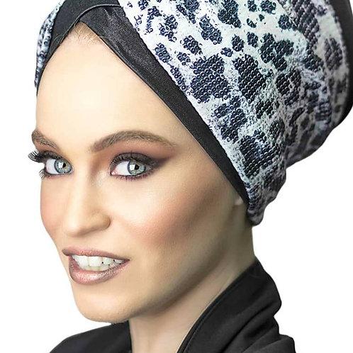 Yeela Black Hat with Leopard Print  Headband