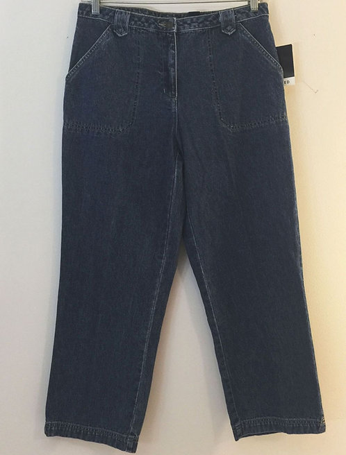 LIZ CLAIBORNE Crazy Horse Cropped Denim Jeans - Size 12