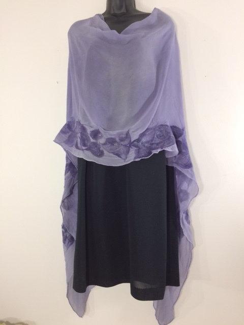 FUSION OL Silk Chiffon Scarf w/Merino Wool Detail