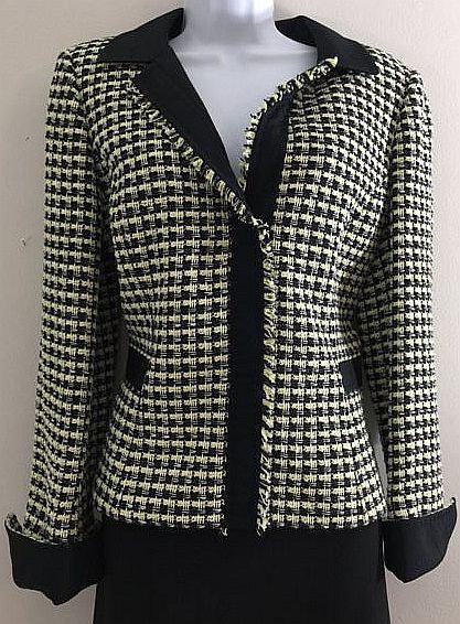 CARLISLE Tweed Dress Jacket with Black Trim - Size 10