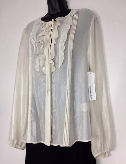 CALVIN KLEIN Jeans Sheer Blouse - Size Large
