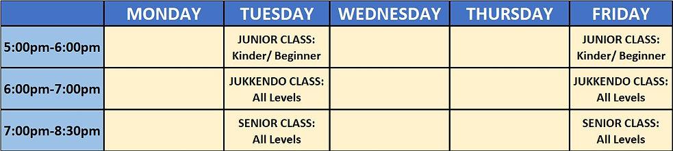Bunasawakai weekly judo class schedule and times for Junior, Senior and Jukkendo Programs