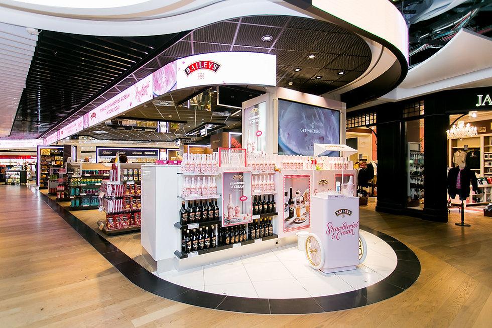 Baileys Strawberry & Cream Travel Retail Stand various Heathrow Terminals UK