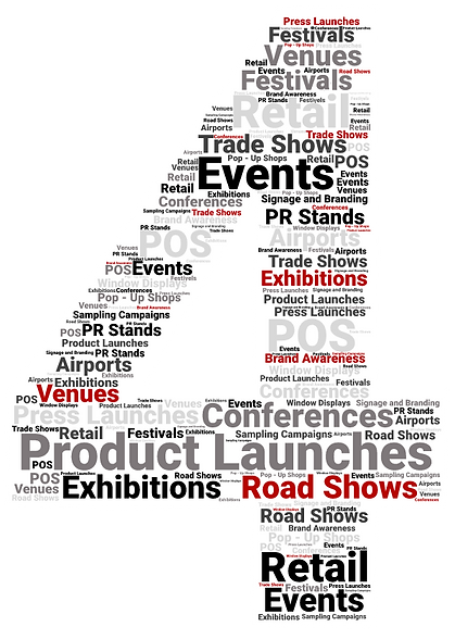 Events, trade shows, exhibitions, festivals, retail, airports, road shows.