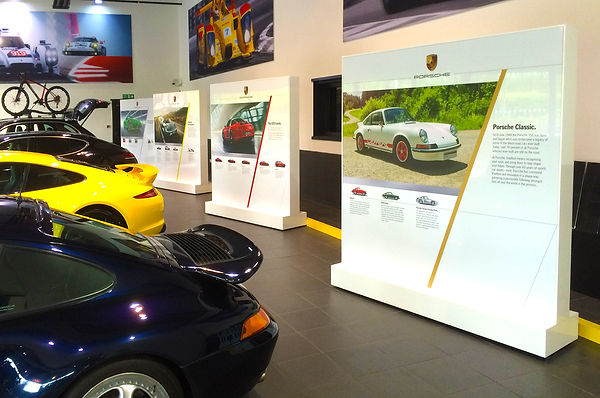 Porsche semi permanent signage in flagship dealerships