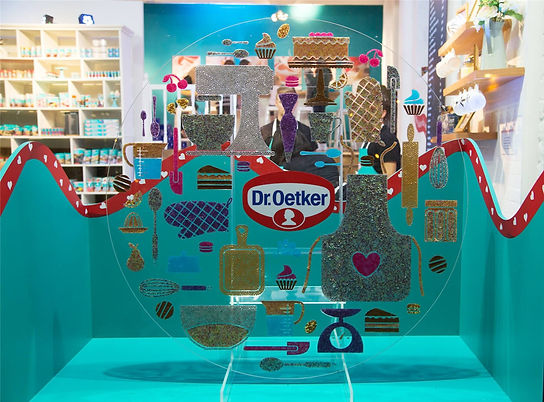 Bespoke window display using Dr Oetker baking accesories