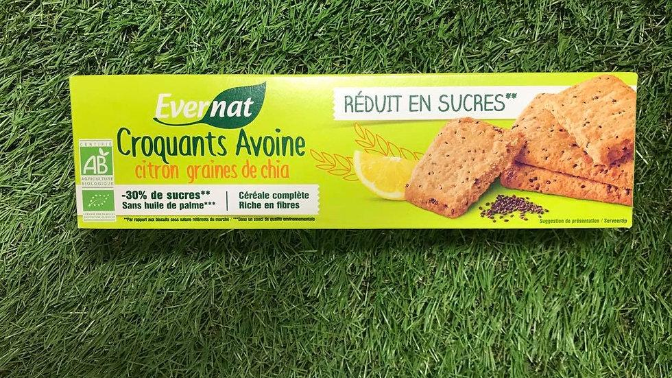 Biscuits Croquant Avoine Chia Citron 130gr