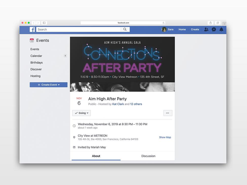 Aim High After Party Facebook Post Mocku