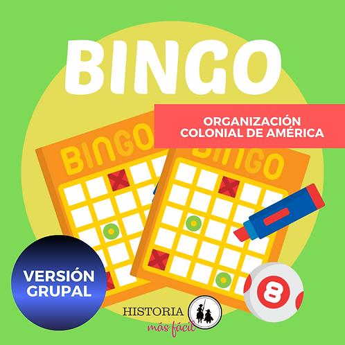 BINGO - Organización Colonial de América (para grupos)