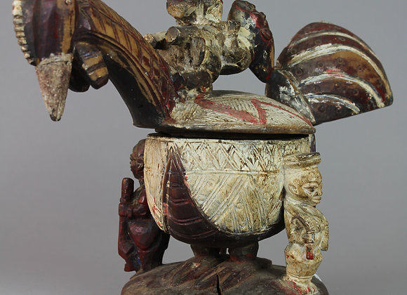 Wood Carved Bowl in the form of a Chicken. Yoruba, Nigeria