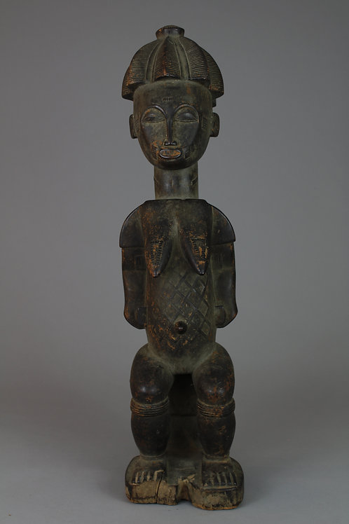 Wood Carved Seated Female Figure with Child