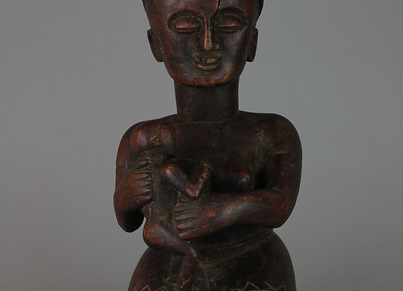 Wood Carved Stool with Mother and Child