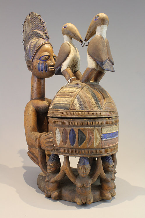 Yoruba Figural Offering Bowl with Birds