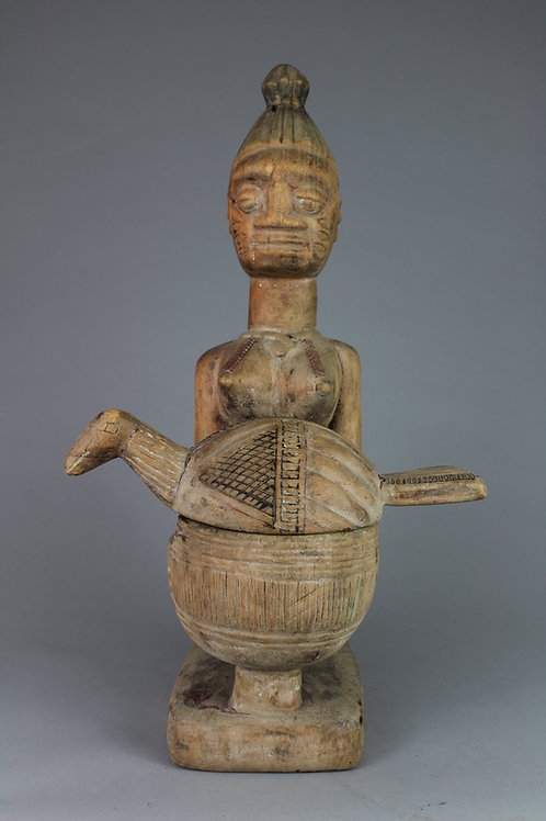 Yoruba Female Figural Offering Bowl with Chicken Lid