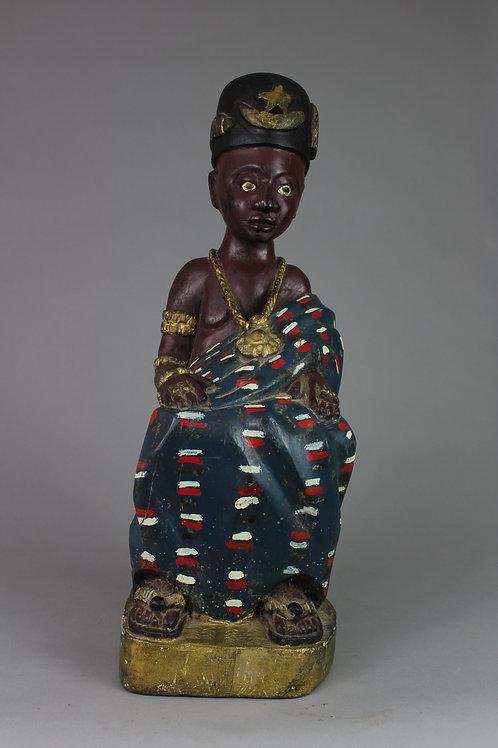 Wood Carved Seated King Figure. Ashanti, Ghana