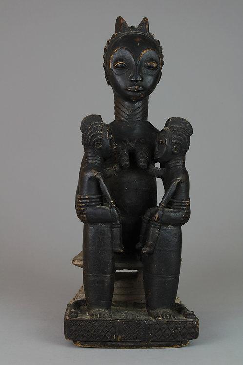 Carved Wood Maternity Figure Seated on Akan Stool