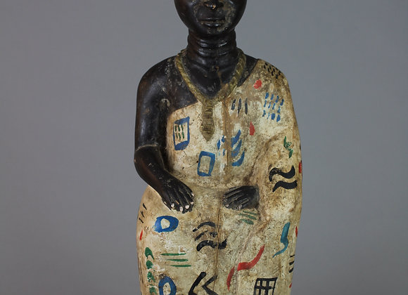 Wood Carved Seated King Figure. Ahsanti, Ghana
