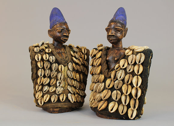 Pair of Wood Carved Ibejii Figures in Cowrie Shell Coats
