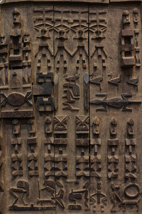 Wood Carved Granary Door. Dogon, Mali