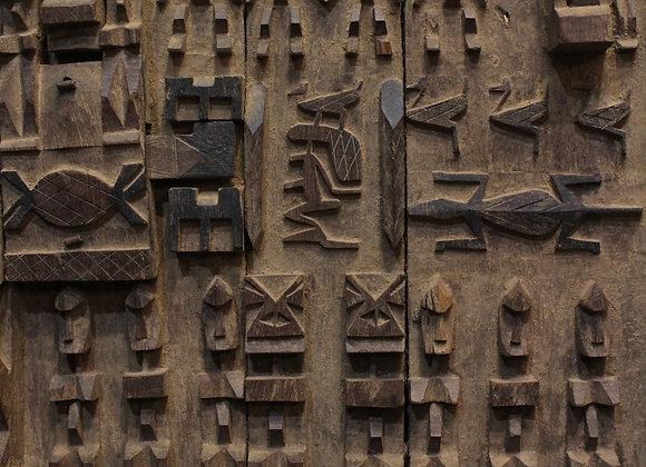 Wood Carved Granary Door. Dogon, Mali