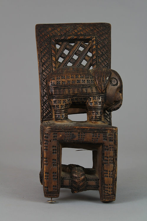 Fante Tribe Wood Carved Chair with Elephant