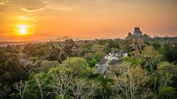 Beautiful and surreal sunset at Tikal Te
