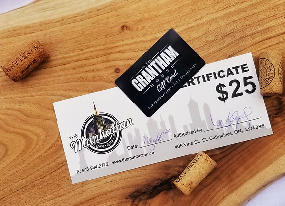$25 Grantham House + $25 Manhattans Gift Cards