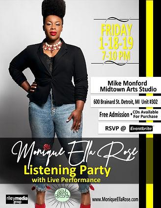 Monique Ella Rose Listening Party Flyer.