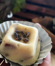 White chocolate lavender fudge with peca