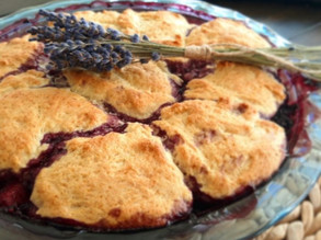 Raspberries, Nectarine and Lavender Cobbler- Lavineyard Farms