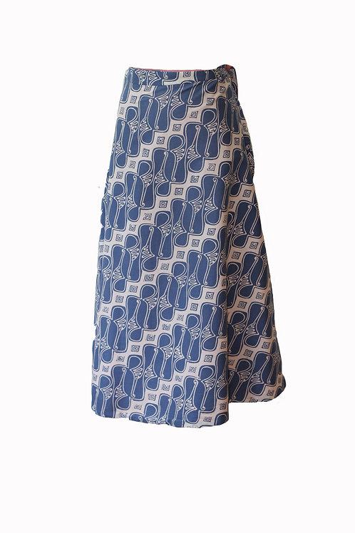 The reversible batik midi skirt