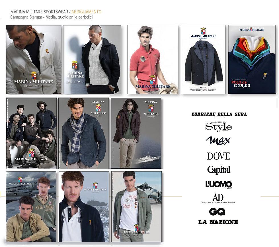 Marina Militare Sportswear, Studio AdGG, Pubblicita, pianificazione media, Campagna stampa marina Militare, abbigliamento, affissione,