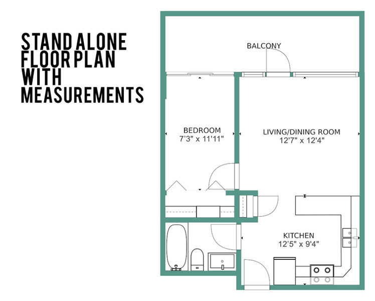 Ten South Media Floor Plan with measurments.